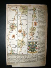 Owen & Bowen C1740 Hand Col Road Map. Hampshire. Winchester, Alresford, Ringwood
